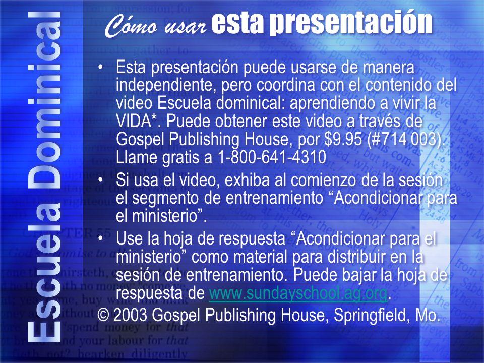 Cómo usar esta presentación Esta presentación puede usarse de manera independiente, pero coordina con el contenido del video Escuela dominical: aprend