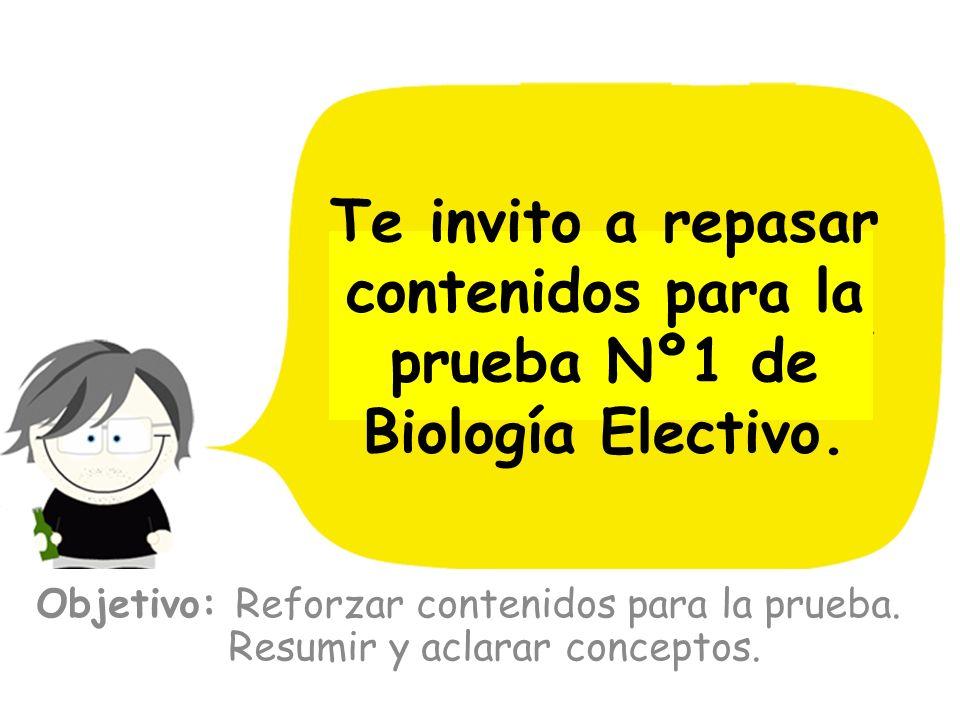 Objetivo: Reforzar contenidos para la prueba. Resumir y aclarar conceptos. Te invito a repasar contenidos para la prueba Nº1 de Biología Electivo.