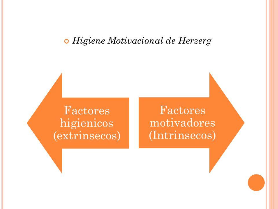 Higiene Motivacional de Herzerg Factores higienicos (extrinsecos) Factores motivadores (Intrinsecos)