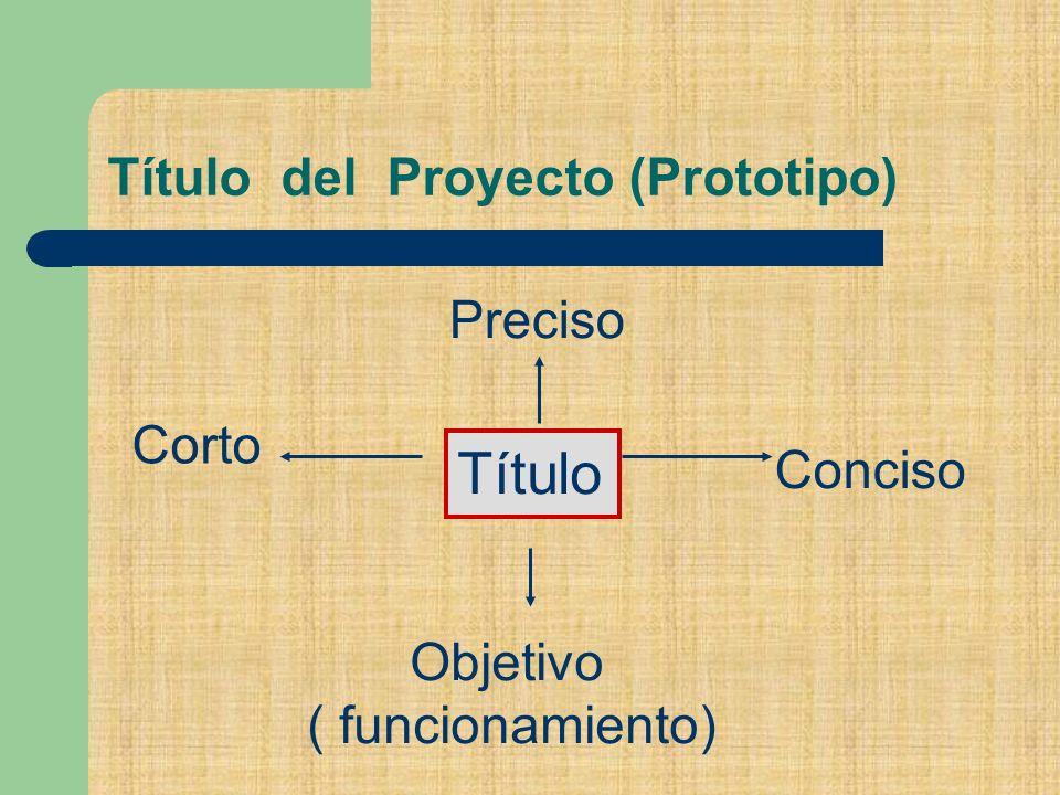 Título del Proyecto (Prototipo) Título Corto Preciso Conciso Objetivo ( funcionamiento)