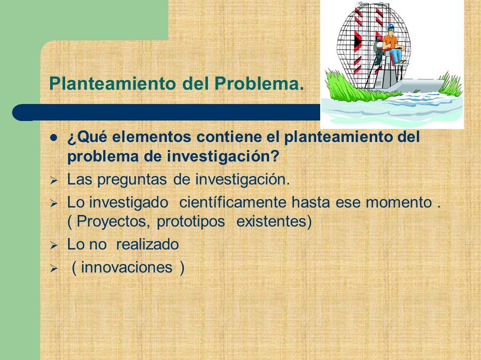 Planteamiento del Problema.¿Qué elementos contiene el planteamiento del problema de investigación.