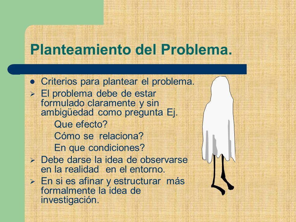 Planteamiento del Problema.Criterios para plantear el problema.