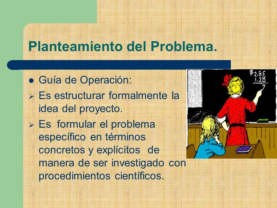 Planteamiento del Problema.Guía de Operación: Es estructurar formalmente la idea del proyecto.