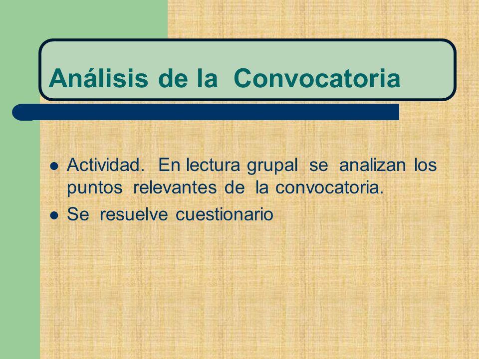 Análisis de la Convocatoria Actividad.