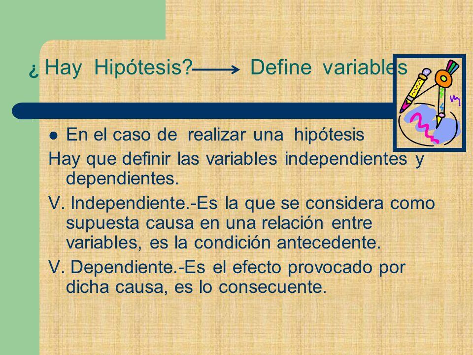 ¿ Hay Hipótesis.