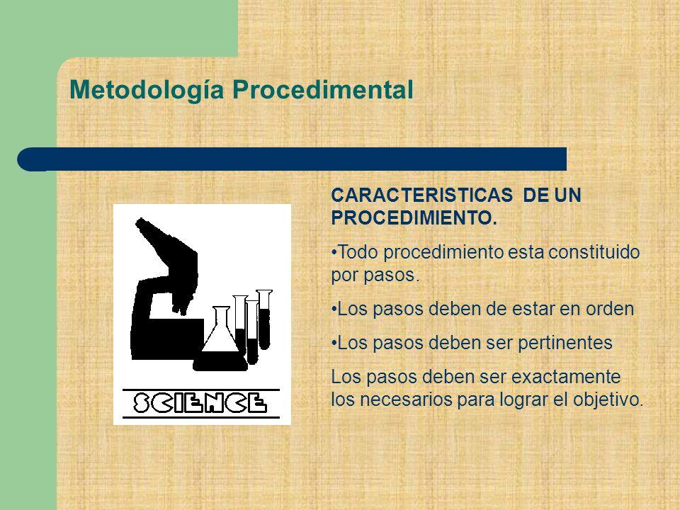 Metodología Procedimental CARACTERISTICAS DE UN PROCEDIMIENTO.