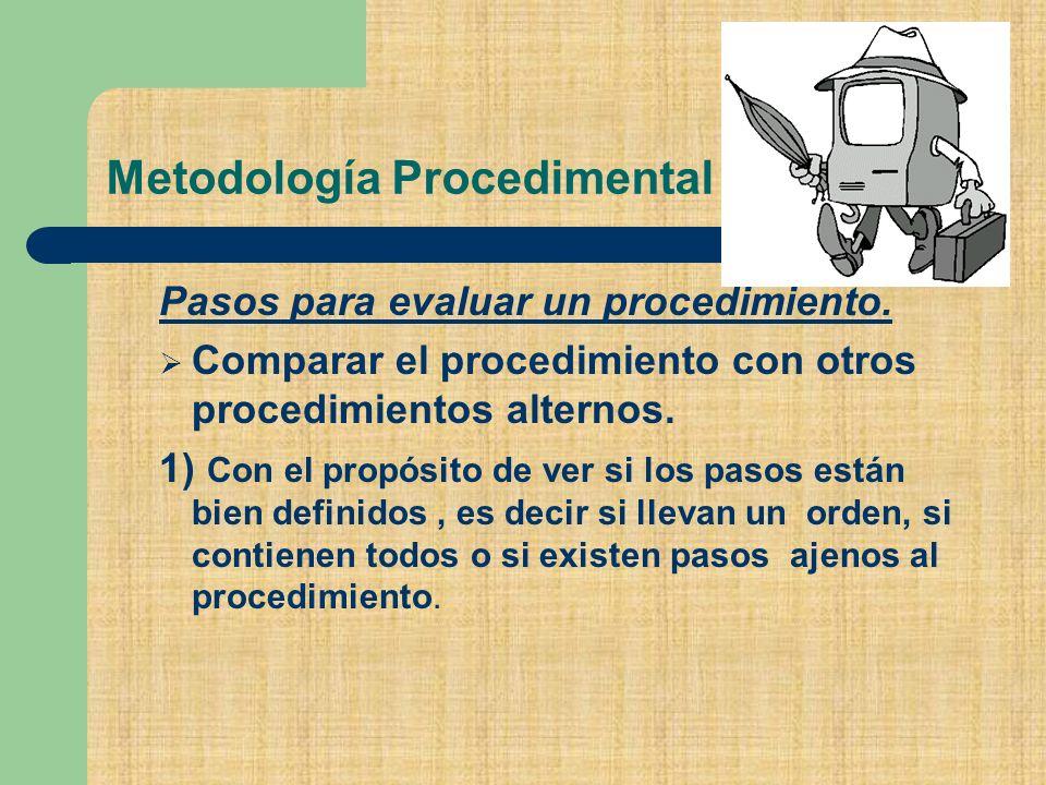 Metodología Procedimental Pasos para evaluar un procedimiento.