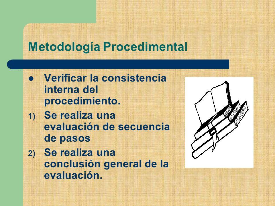 Metodología Procedimental Verificar la consistencia interna del procedimiento.