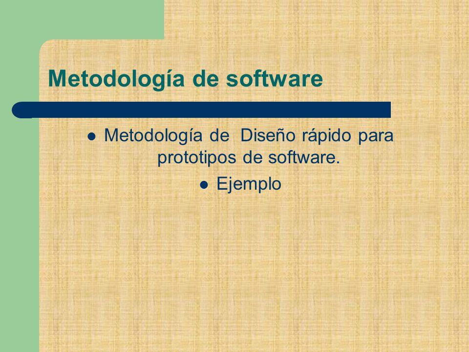 Metodología de software Metodología de Diseño rápido para prototipos de software. Ejemplo