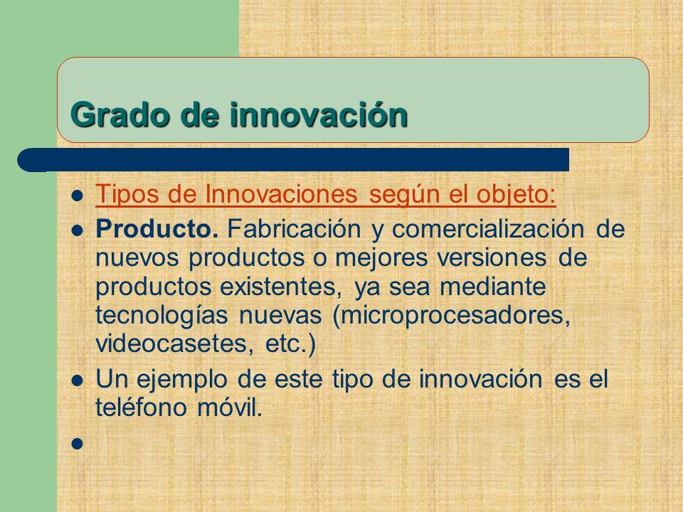 Grado de innovación Tipos de Innovaciones según el objeto: Producto.