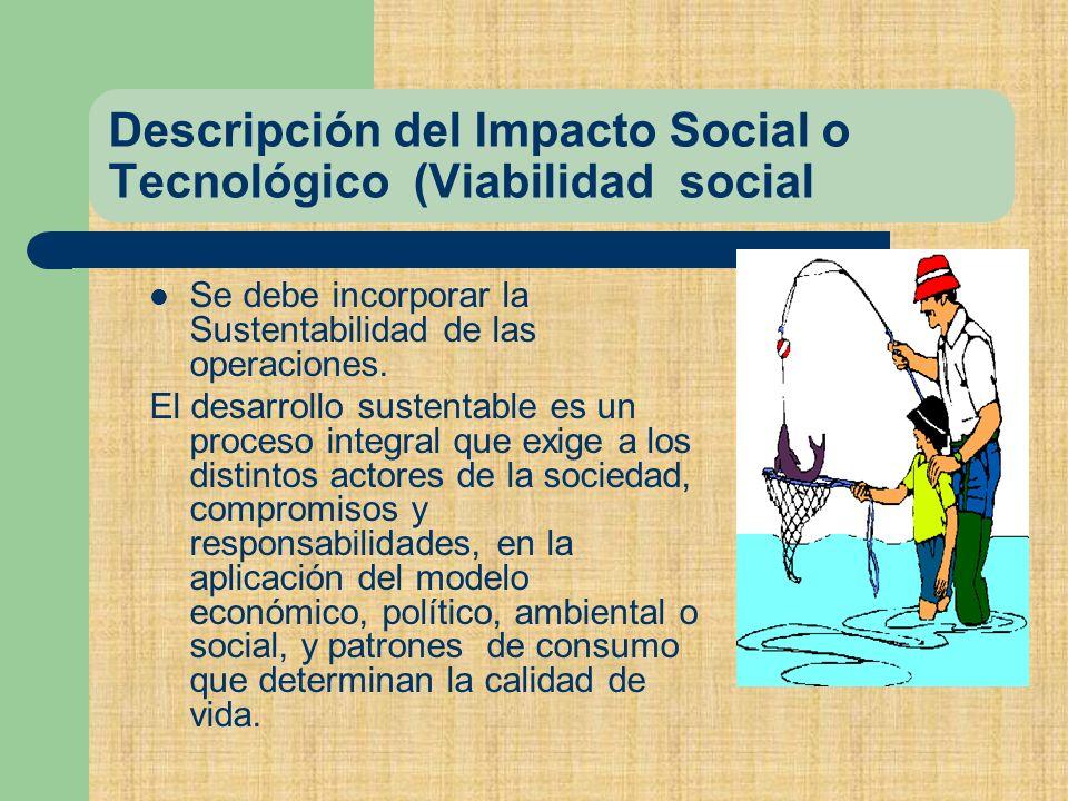 Descripción del Impacto Social o Tecnológico (Viabilidad social Se debe incorporar la Sustentabilidad de las operaciones.