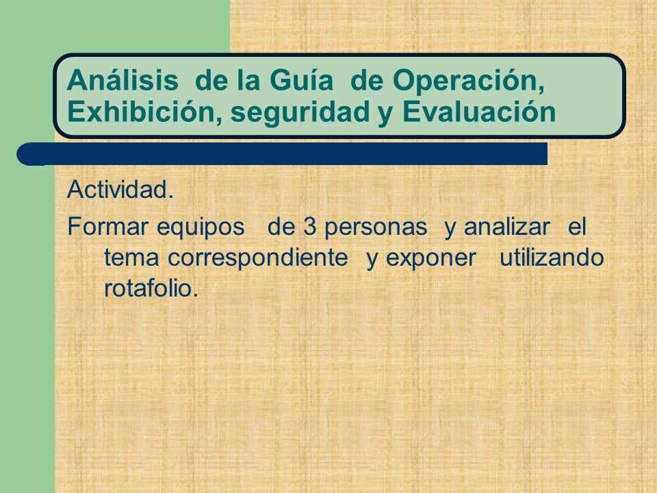 Análisis de la Guía de Operación, Exhibición, seguridad y Evaluación Actividad.