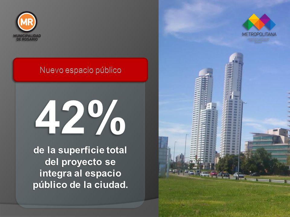 42% de la superficie total del proyecto se integra al espacio público de la ciudad.