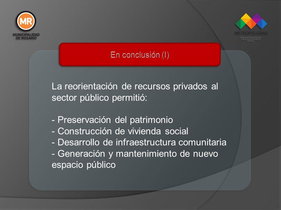 La reorientación de recursos privados al sector público permitió: - Preservación del patrimonio - Construcción de vivienda social - Desarrollo de infr