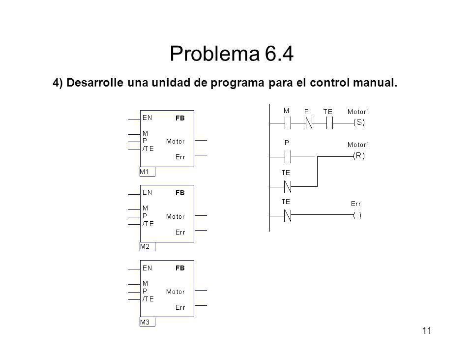 11 Problema 6.4 4) Desarrolle una unidad de programa para el control manual.