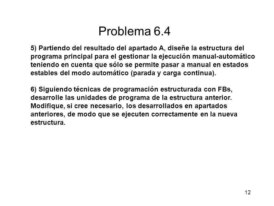 12 Problema 6.4 5) Partiendo del resultado del apartado A, diseñe la estructura del programa principal para el gestionar la ejecución manual-automátic