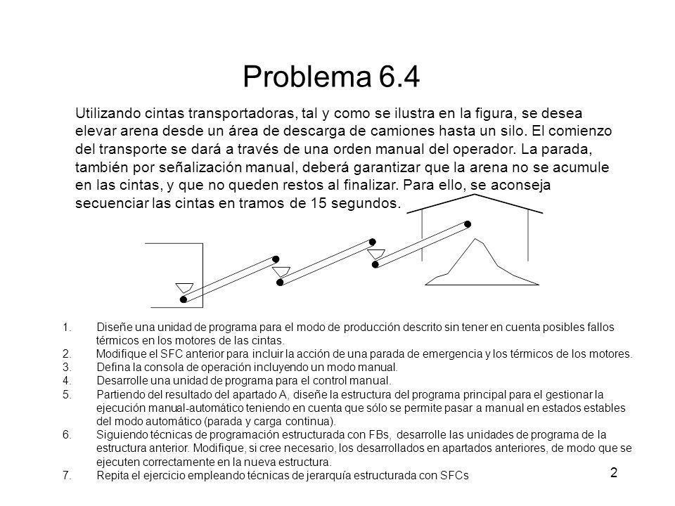 2 Problema 6.4 Utilizando cintas transportadoras, tal y como se ilustra en la figura, se desea elevar arena desde un área de descarga de camiones hast