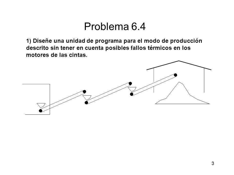 3 Problema 6.4 1) Diseñe una unidad de programa para el modo de producción descrito sin tener en cuenta posibles fallos térmicos en los motores de las