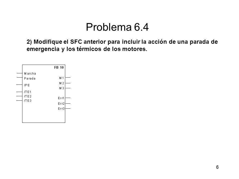6 Problema 6.4 2) Modifique el SFC anterior para incluir la acción de una parada de emergencia y los térmicos de los motores.