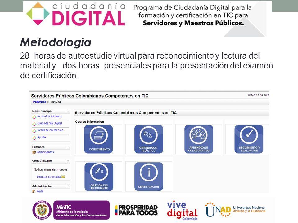 Metodología 28 horas de autoestudio virtual para reconocimiento y lectura del material y dos horas presenciales para la presentación del examen de certificación.