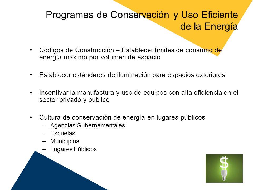 Programas de Conservación y Uso Eficiente de la Energía Códigos de Construcción – Establecer límites de consumo de energía máximo por volumen de espac