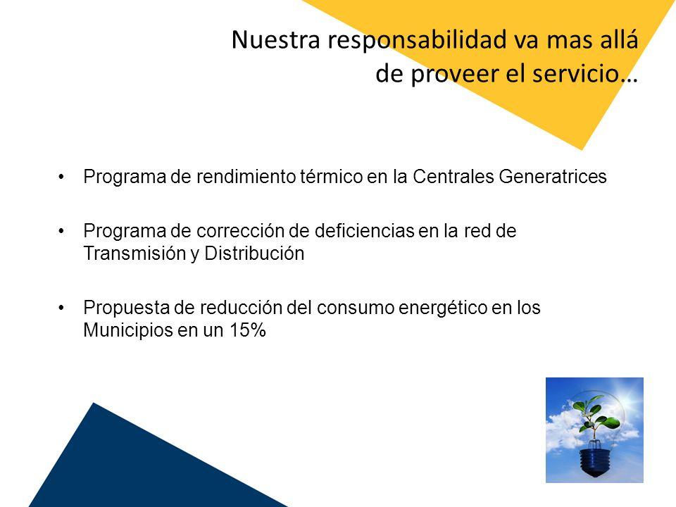 Nuestra responsabilidad va mas allá de proveer el servicio… Programa de rendimiento térmico en la Centrales Generatrices Programa de corrección de def