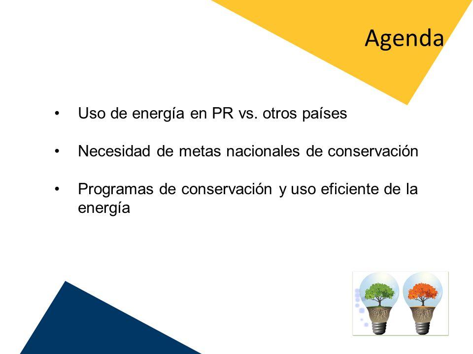 Agenda Uso de energía en PR vs. otros países Necesidad de metas nacionales de conservación Programas de conservación y uso eficiente de la energía