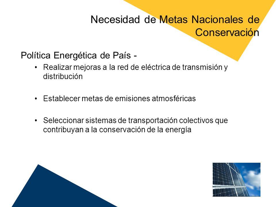 Necesidad de Metas Nacionales de Conservación Política Energética de País - Realizar mejoras a la red de eléctrica de transmisión y distribución Estab