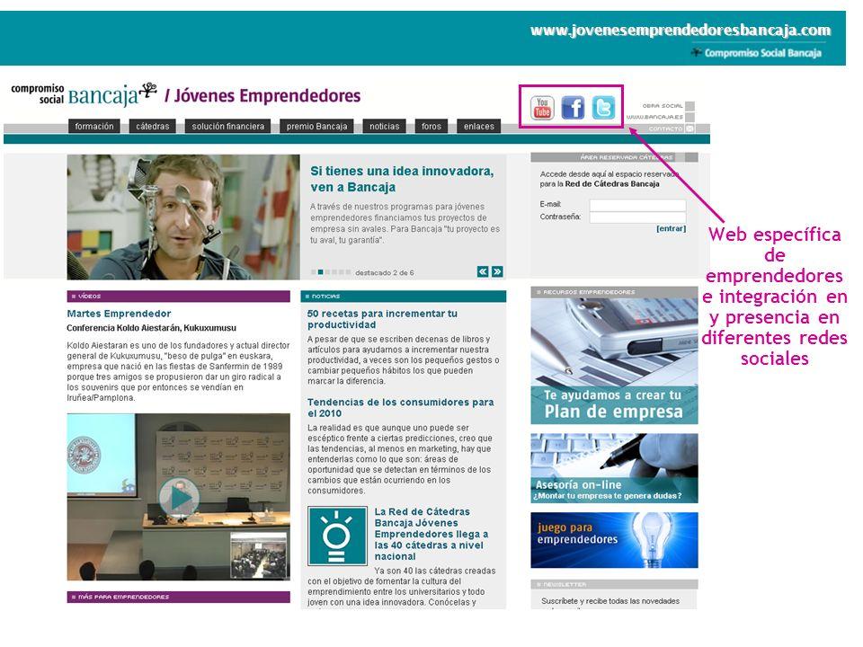 Web específica de emprendedores e integración en y presencia en diferentes redes sociales www.jovenesemprendedoresbancaja.com
