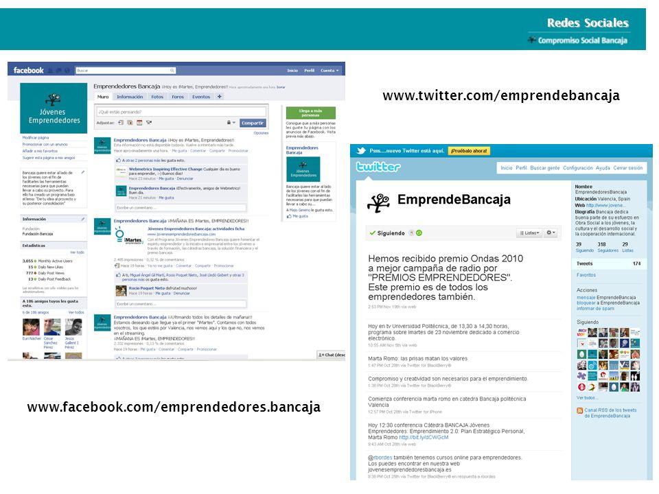 Redes Sociales www.twitter.com/emprendebancaja www.facebook.com/emprendedores.bancaja
