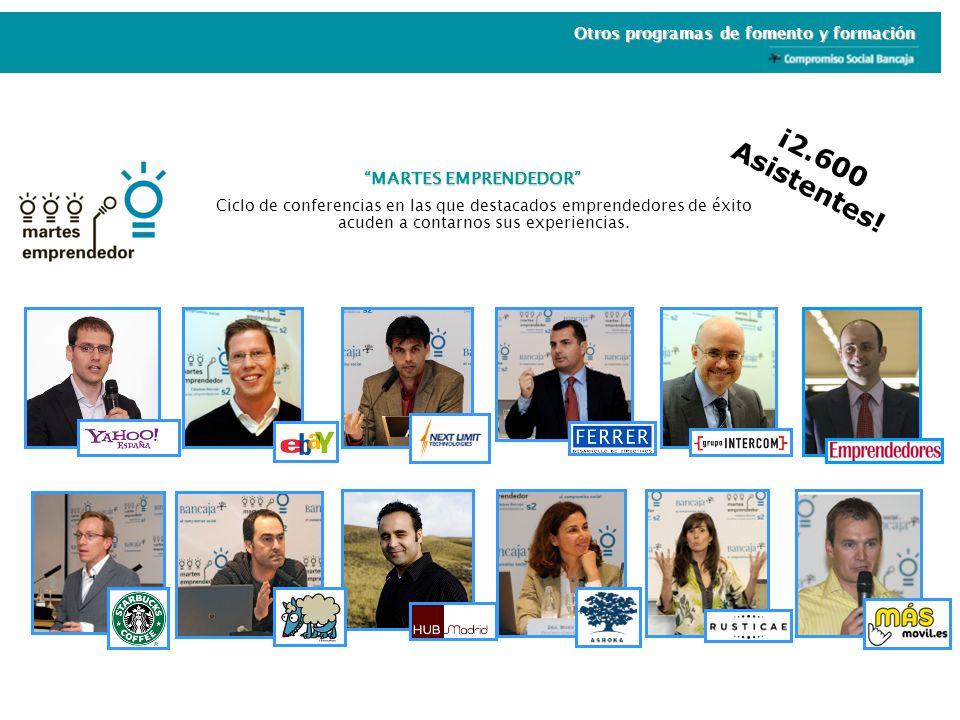 MARTES EMPRENDEDOR Ciclo de conferencias en las que destacados emprendedores de éxito acuden a contarnos sus experiencias. ¡2.600 Asistentes! Otros pr