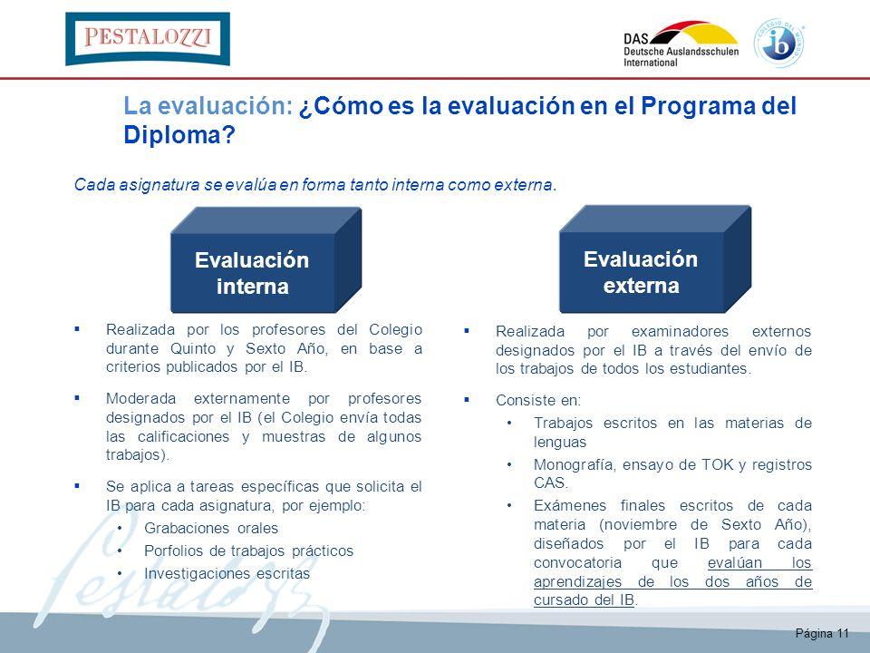 Evaluación interna Evaluación externa La evaluación: ¿Cómo es la evaluación en el Programa del Diploma? Realizada por los profesores del Colegio duran