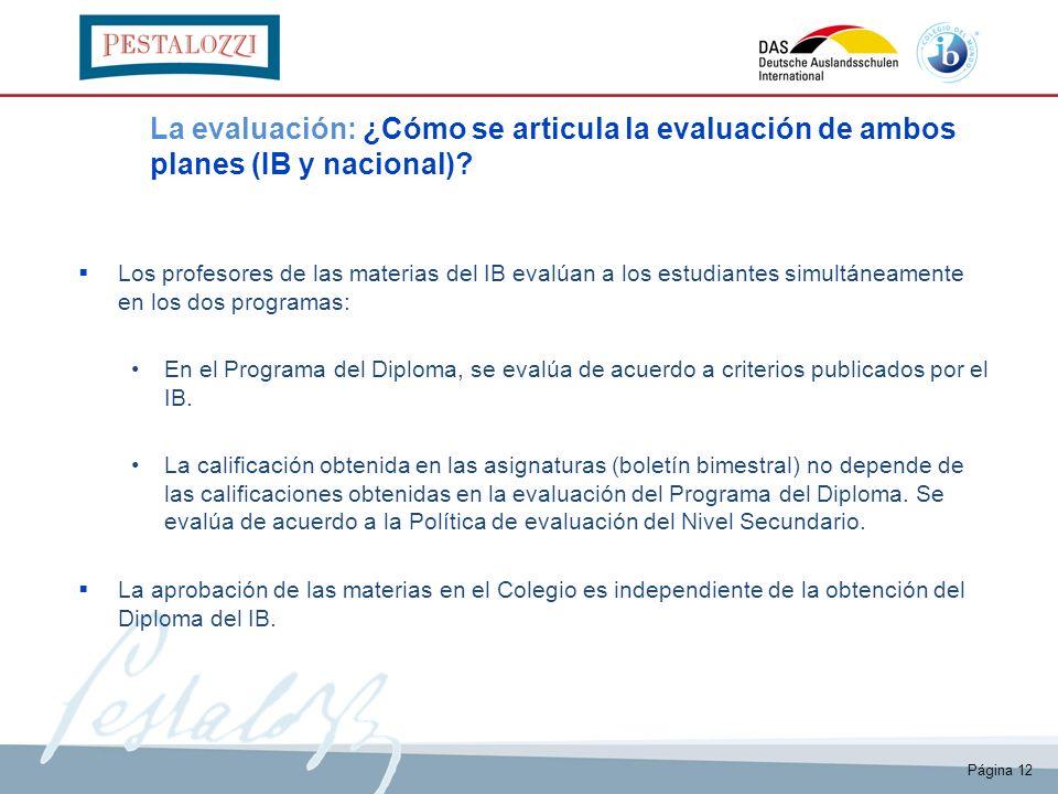 Página 12 La evaluación: ¿Cómo se articula la evaluación de ambos planes (IB y nacional)? Los profesores de las materias del IB evalúan a los estudian