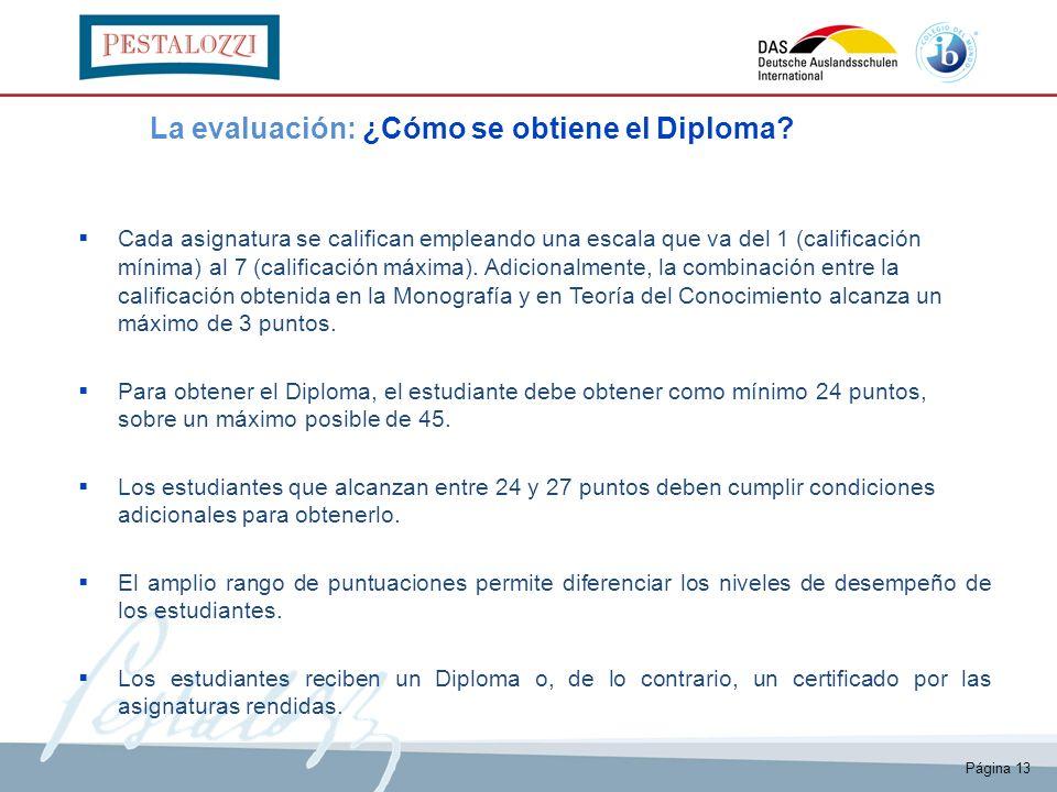 Página 13 La evaluación: ¿Cómo se obtiene el Diploma? Cada asignatura se califican empleando una escala que va del 1 (calificación mínima) al 7 (calif