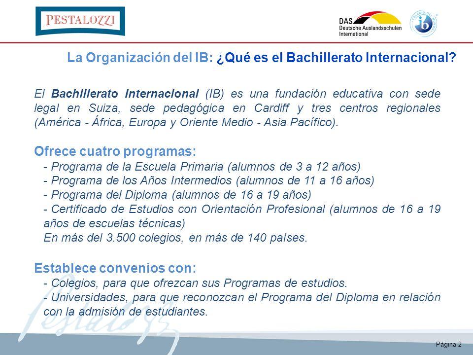 El Bachillerato Internacional (IB) es una fundación educativa con sede legal en Suiza, sede pedagógica en Cardiff y tres centros regionales (América -
