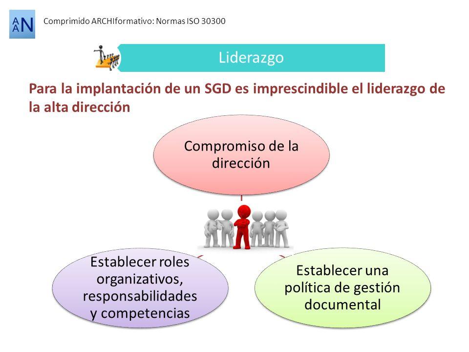 Comprimido ARCHIformativo: Normas ISO 30300 Liderazgo Para la implantación de un SGD es imprescindible el liderazgo de la alta dirección