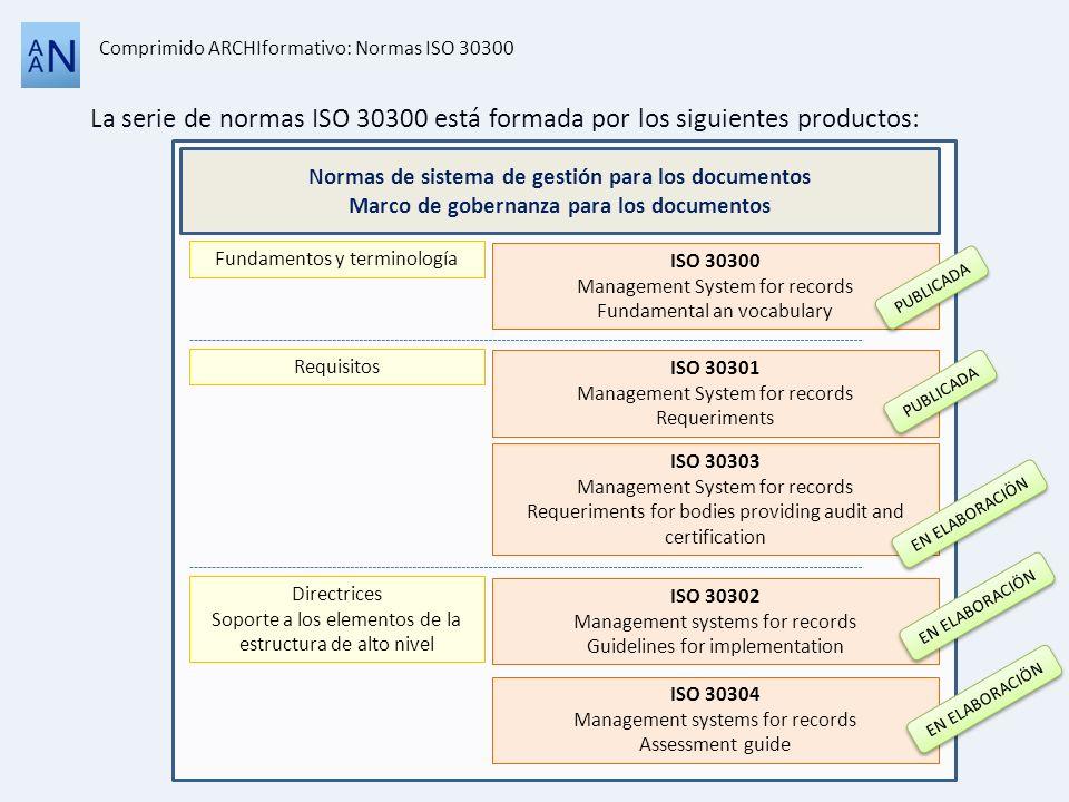 La serie de normas ISO 30300 está formada por los siguientes productos: Comprimido ARCHIformativo: Normas ISO 30300 Normas de sistema de gestión para