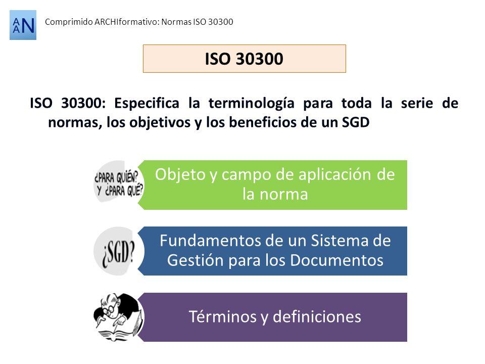 ISO 30300: Especifica la terminología para toda la serie de normas, los objetivos y los beneficios de un SGD Comprimido ARCHIformativo: Normas ISO 303