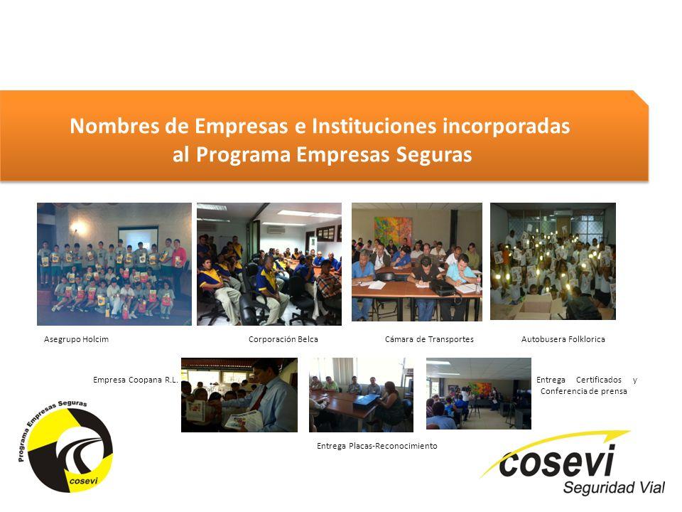 Nombres de Empresas e Instituciones incorporadas al Programa Empresas Seguras Nombres de Empresas e Instituciones incorporadas al Programa Empresas Se