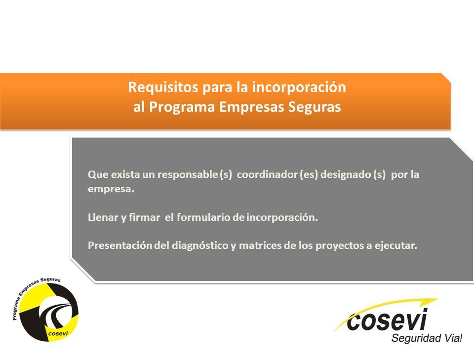 Que exista un responsable (s) coordinador (es) designado (s) por la empresa. Llenar y firmar el formulario de incorporación. Presentación del diagnóst