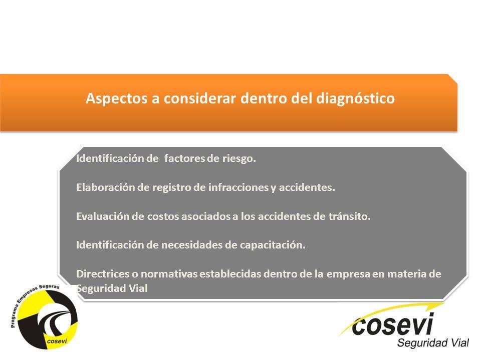 Identificación de factores de riesgo. Elaboración de registro de infracciones y accidentes. Evaluación de costos asociados a los accidentes de tránsit