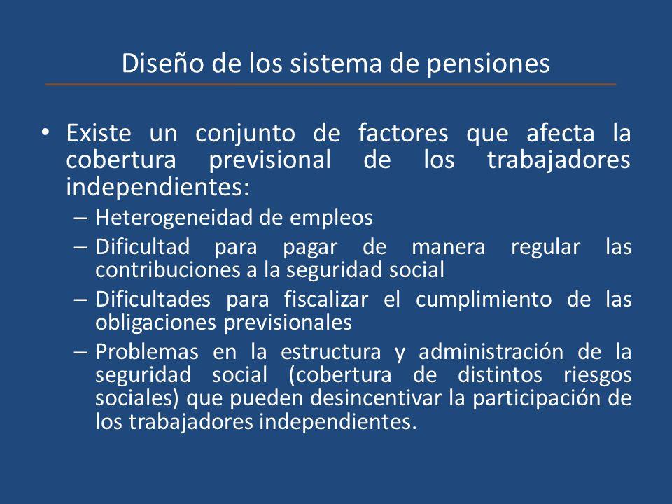 Diseño de los sistema de pensiones Existe un conjunto de factores que afecta la cobertura previsional de los trabajadores independientes: – Heterogene