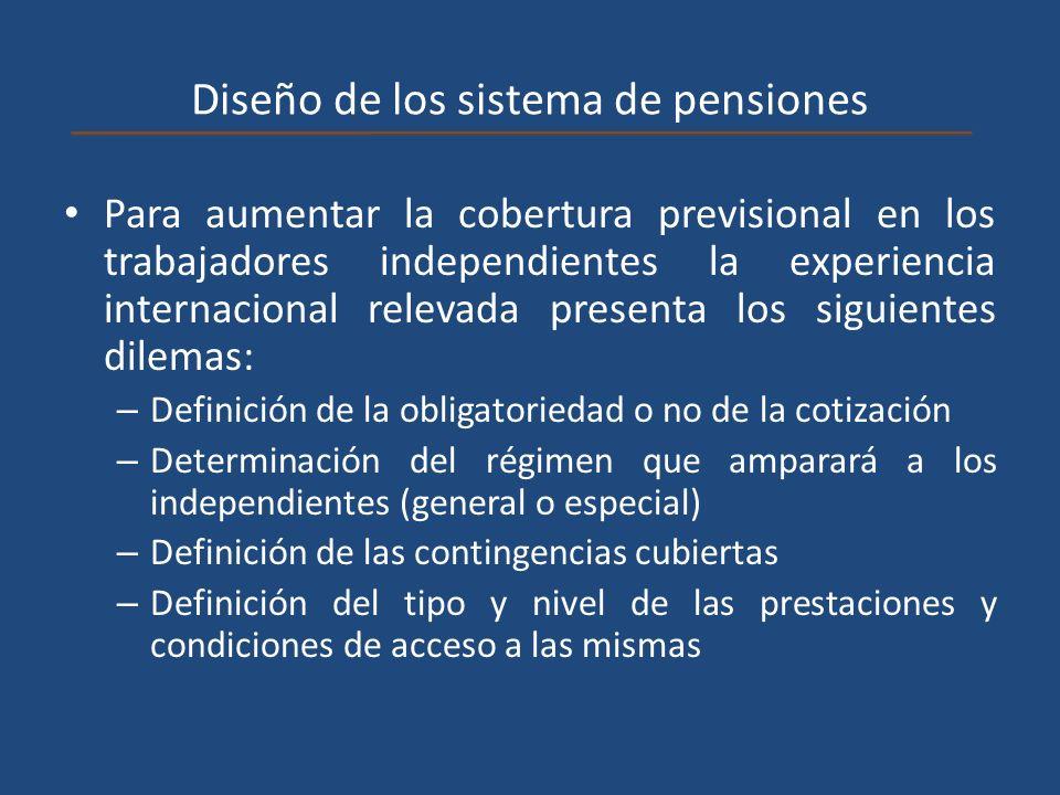 Diseño de los sistema de pensiones Para aumentar la cobertura previsional en los trabajadores independientes la experiencia internacional relevada pre