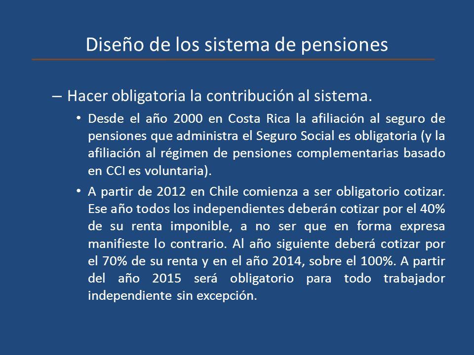 Diseño de los sistema de pensiones – Hacer obligatoria la contribución al sistema. Desde el año 2000 en Costa Rica la afiliación al seguro de pensione