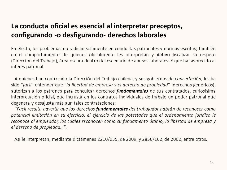 12 La conducta oficial es esencial al interpretar preceptos, configurando -o desfigurando- derechos laborales En efecto, los problemas no radican sola