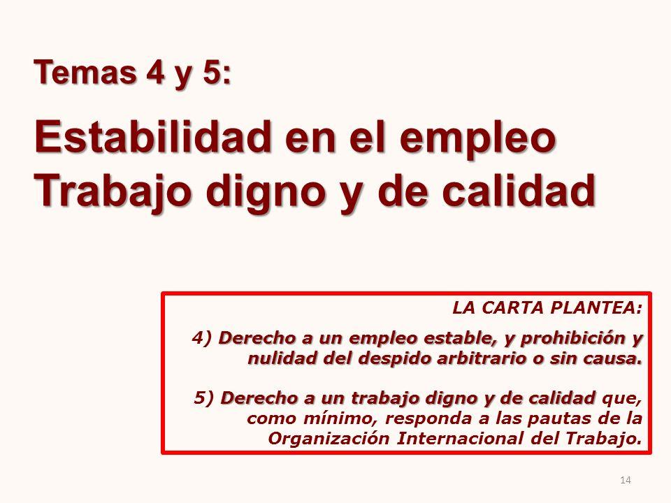 Temas 4 y 5: Estabilidad en el empleo Trabajo digno y de calidad LA CARTA PLANTEA: Derecho a un empleo estable, y prohibición y nulidad del despido ar