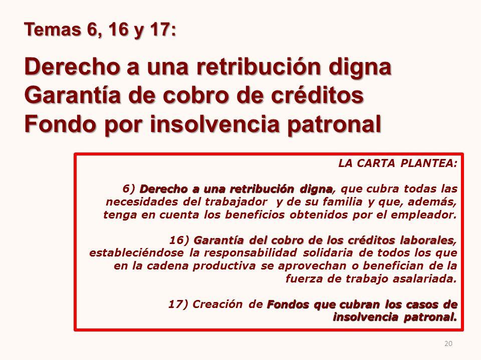 Temas 6, 16 y 17: Derecho a una retribución digna Garantía de cobro de créditos Fondo por insolvencia patronal LA CARTA PLANTEA: Derecho a una retribu