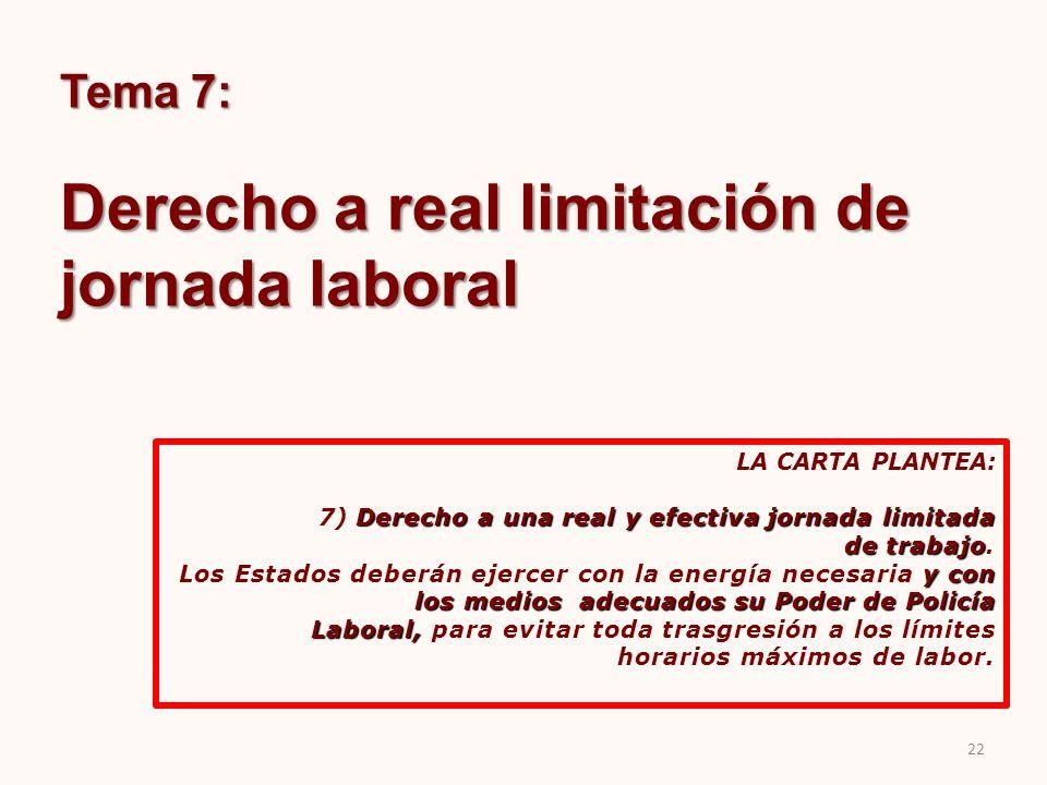 Tema 7: Derecho a real limitación de jornada laboral LA CARTA PLANTEA: Derecho a una real y efectiva jornada limitada 7) Derecho a una real y efectiva