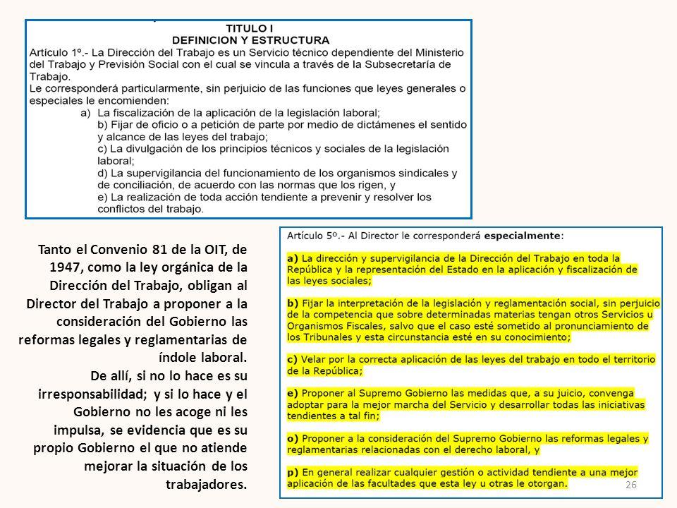 Tanto el Convenio 81 de la OIT, de 1947, como la ley orgánica de la Dirección del Trabajo, obligan al Director del Trabajo a proponer a la consideraci