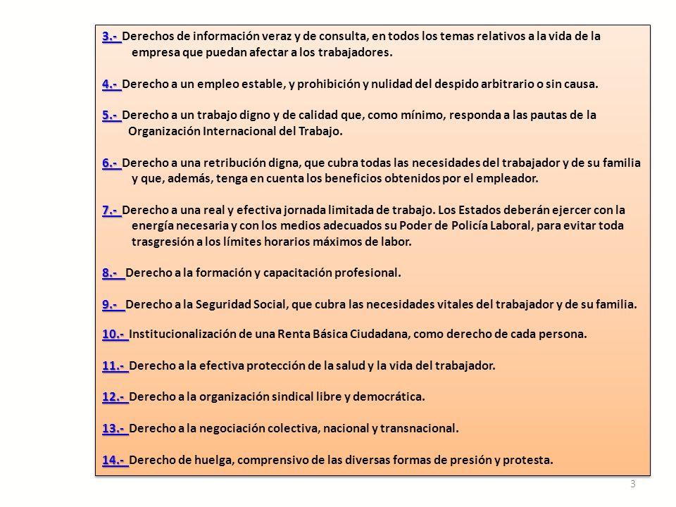 Temas 4 y 5: Estabilidad en el empleo Trabajo digno y de calidad LA CARTA PLANTEA: Derecho a un empleo estable, y prohibición y nulidad del despido arbitrario o sin causa.